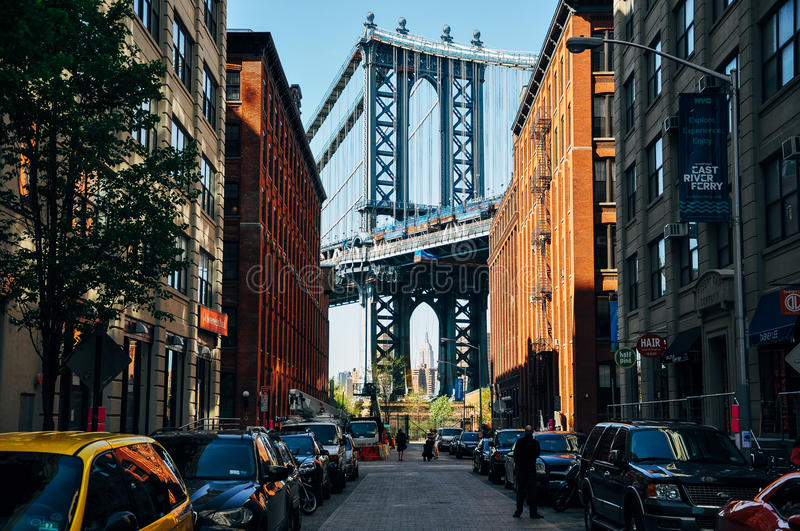 A view of Manhattan bridge from Dumbo. royalty free stock photos
