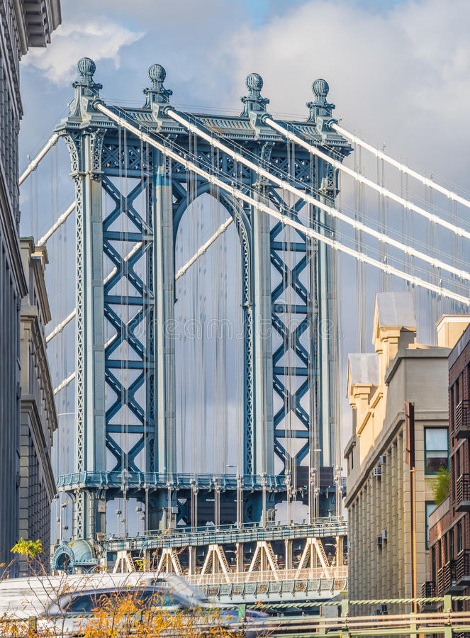 View of the Manhattan Bridge from the Dumbo District, NYC. View of the Manhattan Bridge from the Dumbo (Down Under the Manhattan Bridge Overpass)) district stock photos
