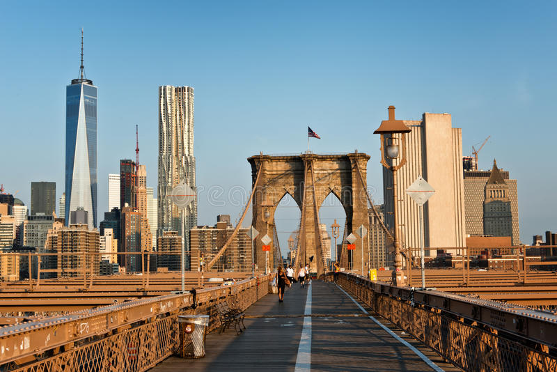 View Of Manhattan From Brooklyn Bridge Stock Image - Image ...