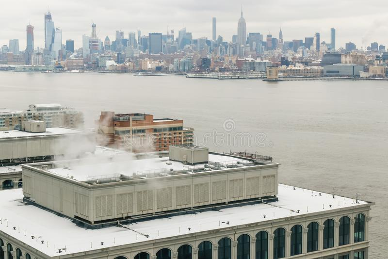 The view on Manhattan New York from the in winter day.  royalty free stock image