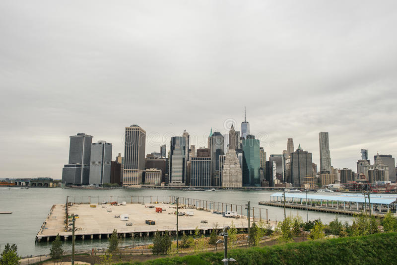 View of the Manhattan skyline from Brooklyn Heights royalty free stock image