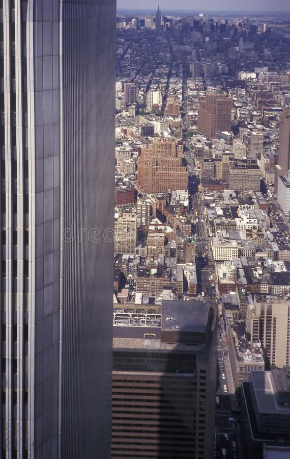 View of Manhattan from the Twin Towers of the World Trade Centre royalty free stock image