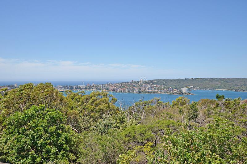 View on Manly Bay and Manly beach from one of the most beautiful walks in Sydney. Spit bridge to Manly beach coastal walk, Sydney, Australia royalty free stock photo