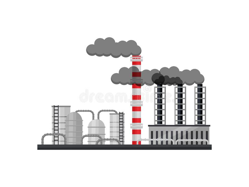 Manufacturing factory with cisterns, smoking pipes and industrial building. Metallurgical production. Flat vector design. View on manufacturing factory with stock illustration