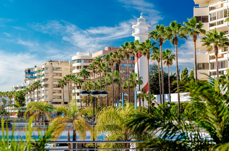 View of the Marbella resort city. Province of Malaga, Andalusia, Costa del Sol. Southern Spain royalty free stock photo