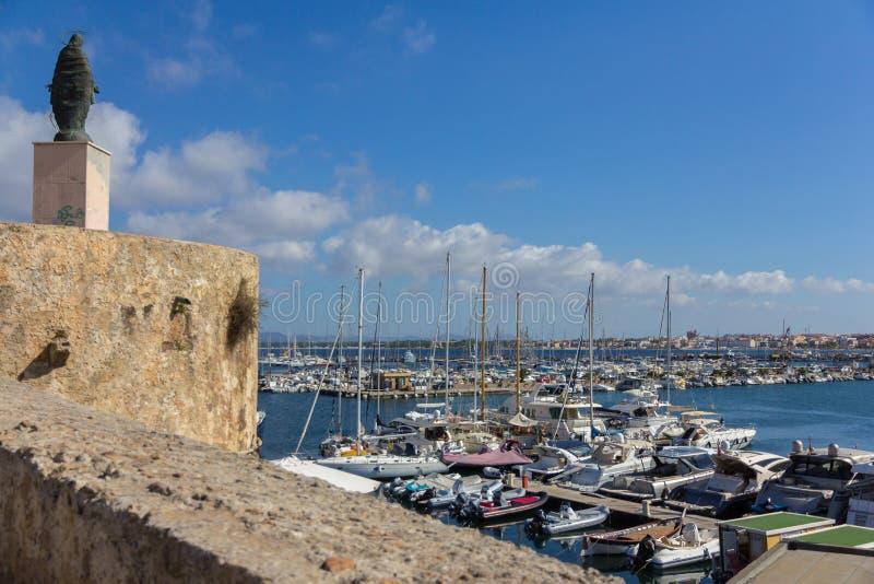 View of marina in Alghero city of the italian island Sardinia stock images