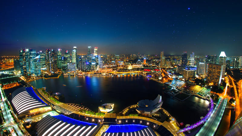 View of Marina bay sand and center of business in Singapore at ninht. royalty free stock photography