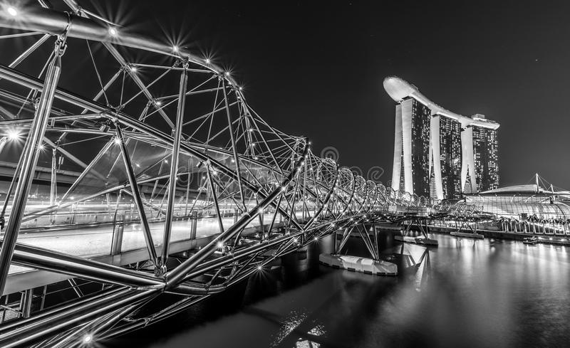View at the Marina Bay in Singapore in Black and White. Singapore, Singapore - July 21, 2017: View at the Marina Bay in Singapore during the night with the royalty free stock photo