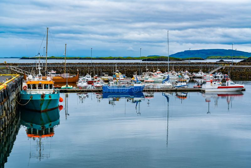 View of a marina in the morning at Grundarfjordur Village stock image