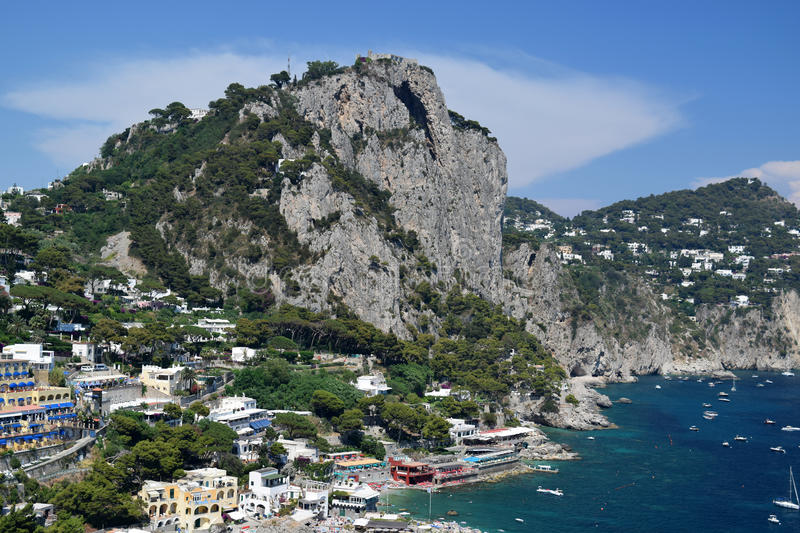 View of Marina Piccola and the coastline in Capri, Italy. View of Marina Piccola and the southern coastline in Capri, Italy royalty free stock images