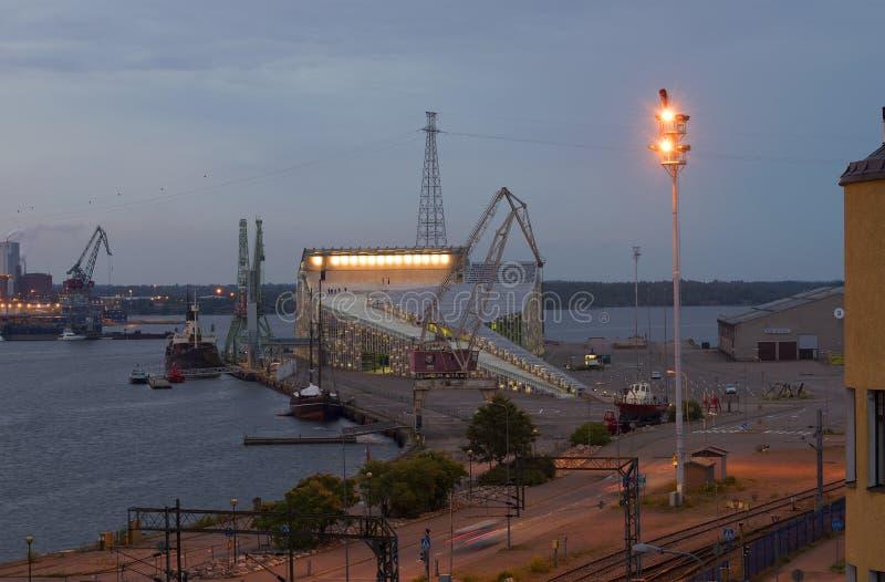 View of the marine center Vellamo in the summer twilight. Kotka, Finland stock photo