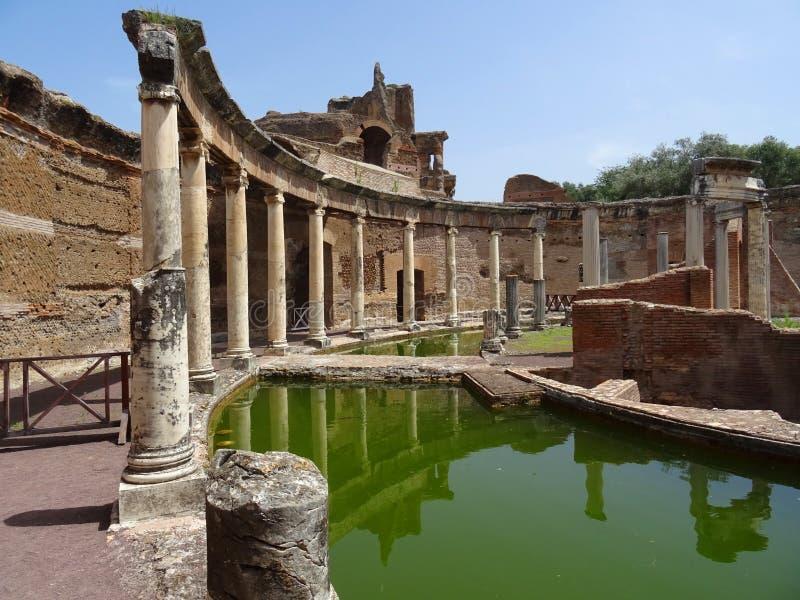 UNESCO World Heritage. Vila Adriana. Italy. View of the Maritime Theatre pond. Ruins of Vila Adriana. Tivoli. Roma. Italy stock images
