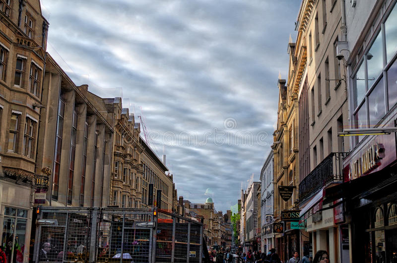View of market street in Oxford at cloudy day stock photo