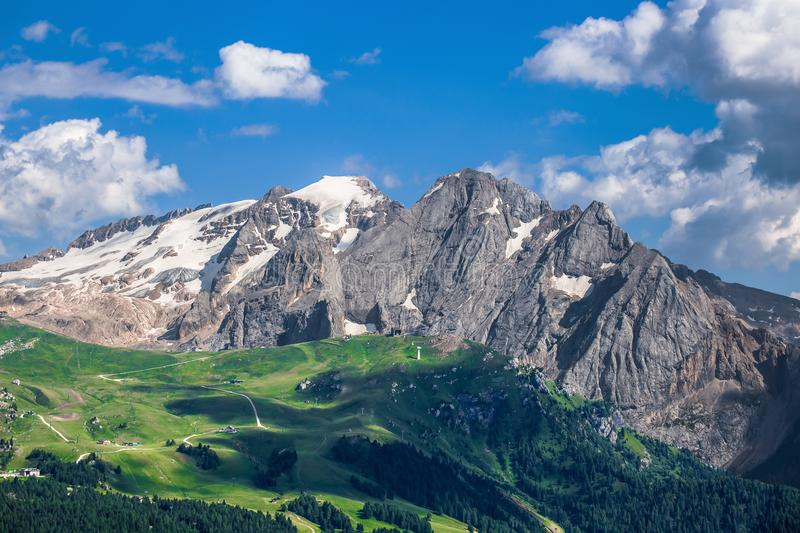 View of Marmolada mountain range and glacier, Dolomites Mountains, Italy stock images