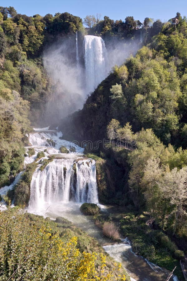 View of marmore falls, terni, umbria, italy. The marmore falls, 165 meters high, formed by velino river waters that end up in the nera river, in the province of royalty free stock photo
