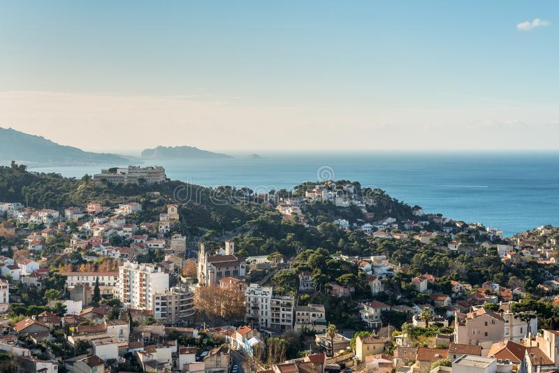 View of Marseille from basilica Notre-Dame de la Garde, France royalty free stock photography