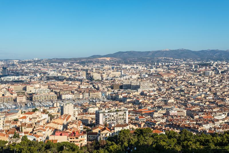 View of Marseille from basilica Notre-Dame de la Garde, France royalty free stock image