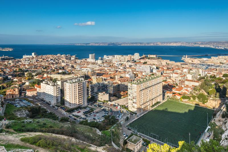 View of Marseille from basilica Notre-Dame de la Garde, France stock image