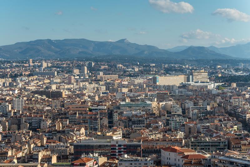 View of Marseille from basilica Notre-Dame de la Garde, France royalty free stock photo