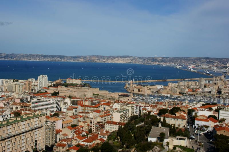 Marseille from Notre Dame stock images
