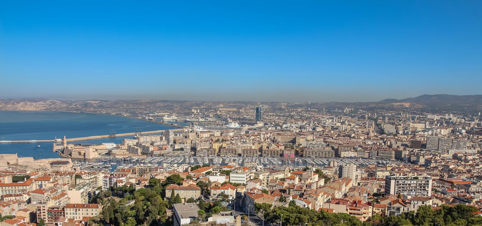 View of Marseille from the observation platform on the mountain. On a sunny summer day stock photos