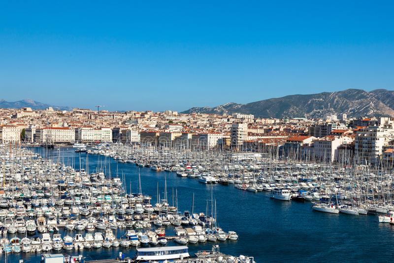 View of Marseille pier - Vieux Port in south of France royalty free stock photography