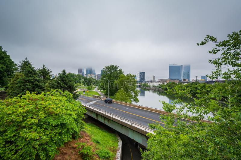 View of Martin Luther King Drive and the Schuylkill River, in Philadelphia, Pennsylvania.  stock image