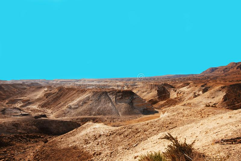 View from the Masada on the desert on a sunny day royalty free stock photo