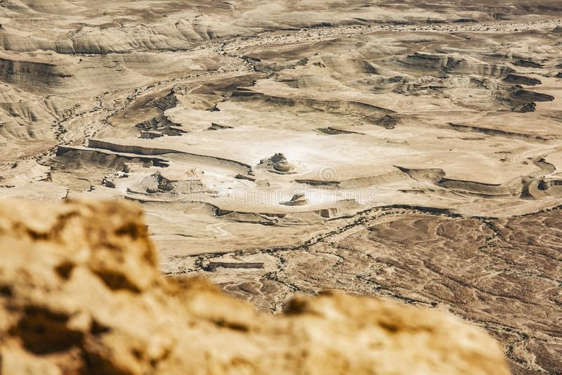 View from the Masada on the desert on a sunny day stock photography
