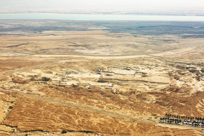 View from the Masada on the desert on a sunny day stock image