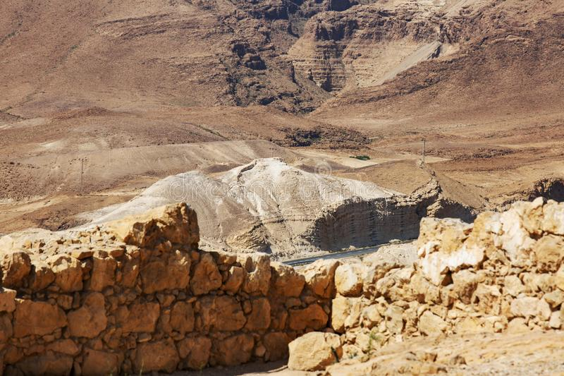 View from the Masada on the desert on a sunny day royalty free stock photography