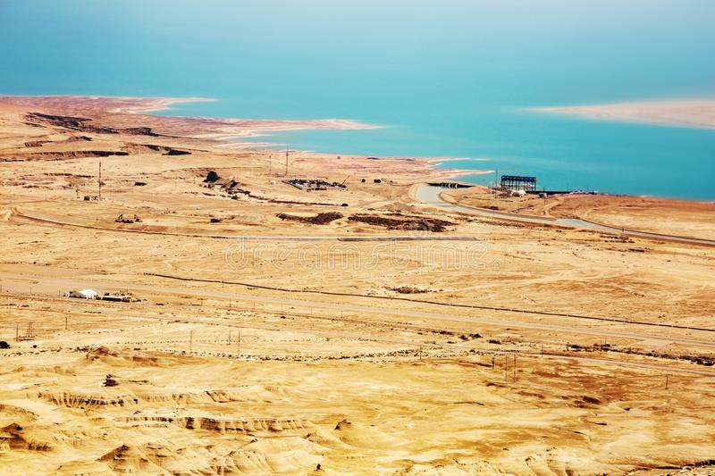 View from the Masada on the desert on a sunny day stock images
