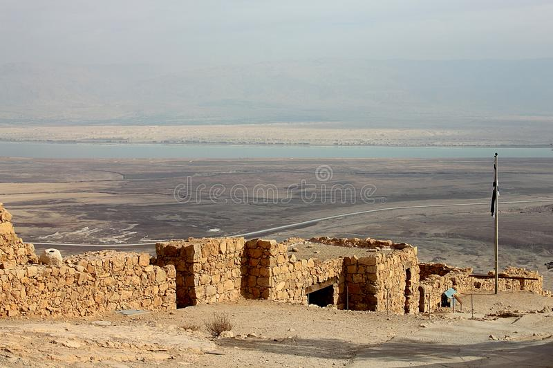 View of Masada fortress, Judaean Desert and Dead Sea. royalty free stock photos