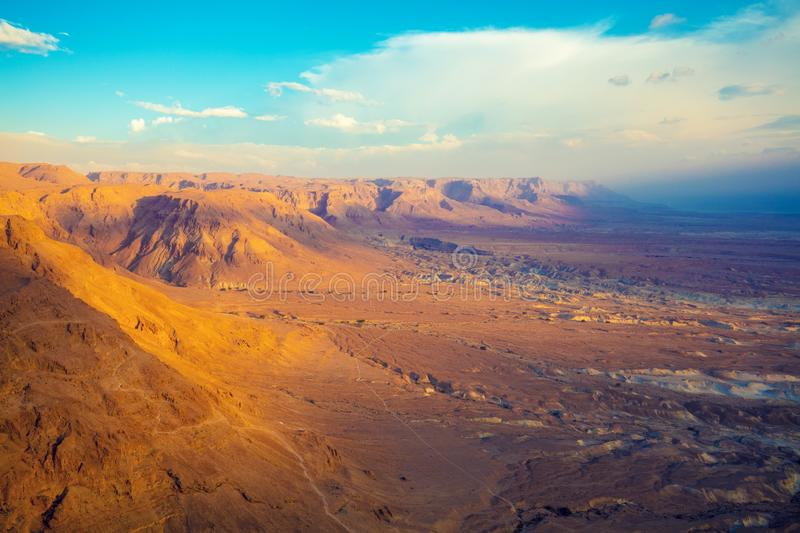 View from Masada at the valley and Dead Sea royalty free stock image