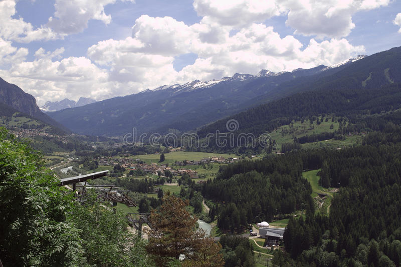 The view on Masi Di Cavalese. Italy. royalty free stock images