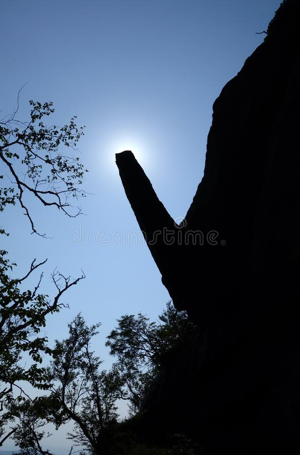 Cantilever Rock Silhouette Mount Mansfield royalty free stock photography