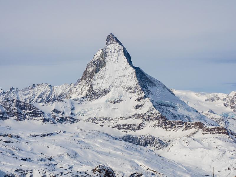View of the Matterhorn from Gornergrat summit station. Swiss Alps, Valais, Switzerland.  stock photography