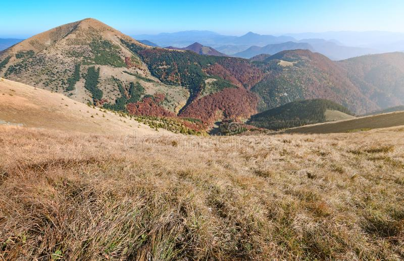 View the meadows in The Vratna valley at the national park Mala Fatra, Slovakia. Autumn stock photo