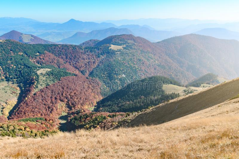 View the meadows in The Vratna valley at the national park Mala Fatra in sunny day, Slovakia. Autumn stock photos