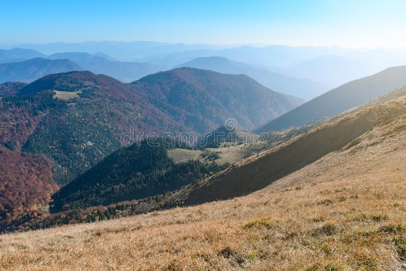 View the meadows in The Vratna valley at the national park Mala Fatra. Sunny foto royalty free stock photos