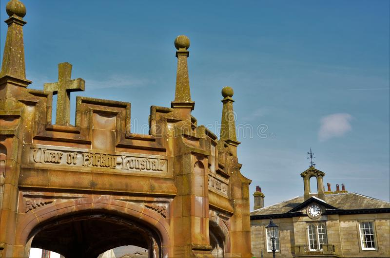 Landmarks of Cumbria - Kirkby Lonsdale. A view of the medieval architecture of the market Square area in Kirkby Lonsdale in Cumbria stock image