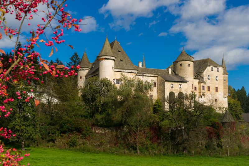 Castle Frauenstein. View of the medieval Castle Frauenstein in Carinthia/Austria at a sunny autumn day