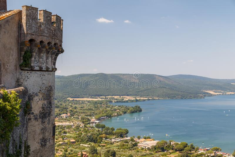 View from medieval castle to Bracciano lake. Italy royalty free stock photo