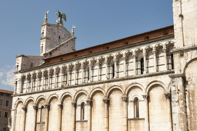 View of medieval cathedral San Michele. Lucca, Italy royalty free stock image