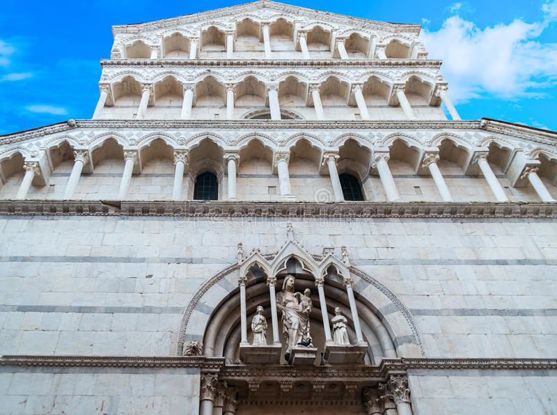 View of medieval cathedral San Michele. Lucca,Tuscany, Italy. royalty free stock photos