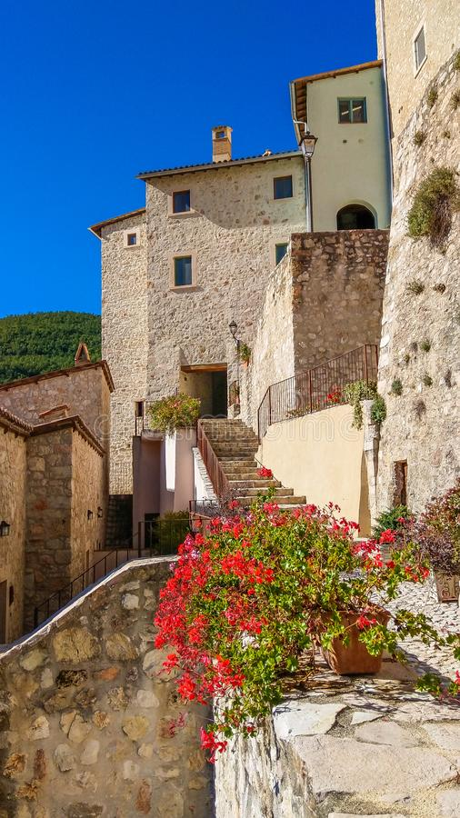 View of the medieval center  of Postignano village in Umbria stock photo