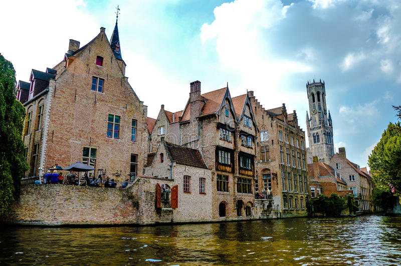 View of medieval city Bruges, Belgium stock images