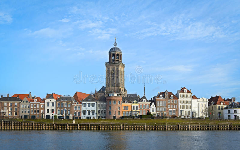 View of the medieval Dutch city Deventer with the Great Church royalty free stock photography