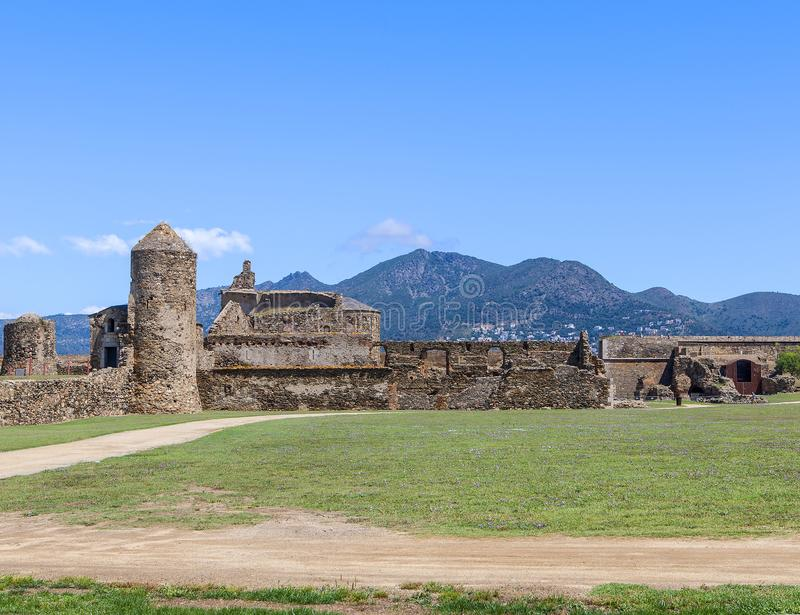 View of the medieval fortress in Roses royalty free stock photo