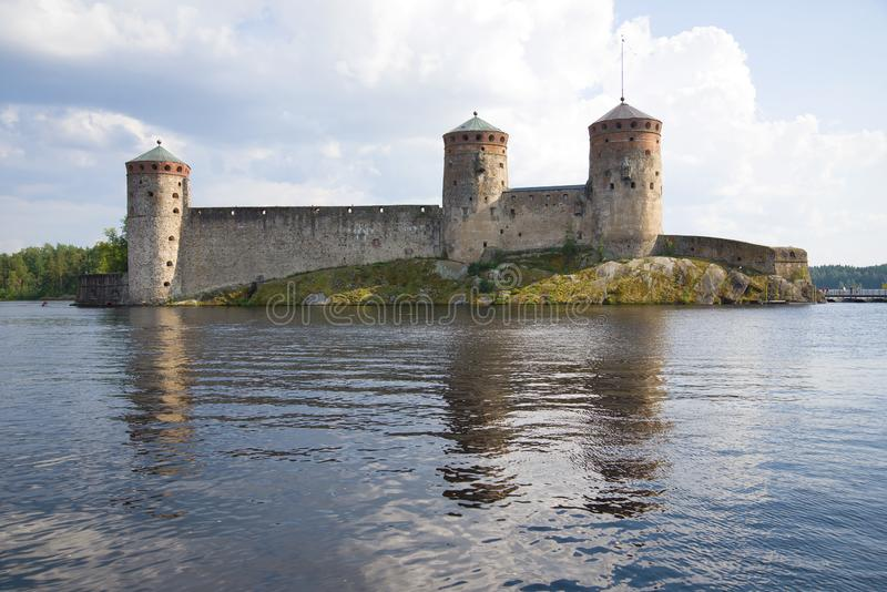 View of the medieval fortress of the town of Savonlinna, afternoon. Finland stock photo